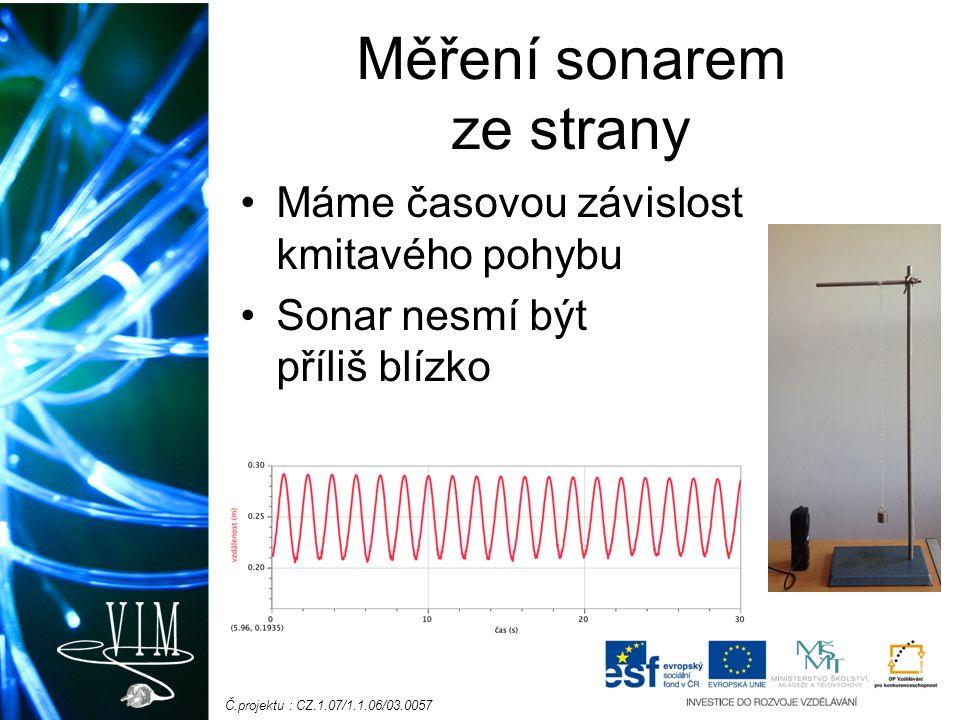 Č.projektu : CZ.1.07/1.1.06/03.0057 Měření sonarem ze strany Máme časovou závislost kmitavého pohybu Sonar nesmí být příliš blízko
