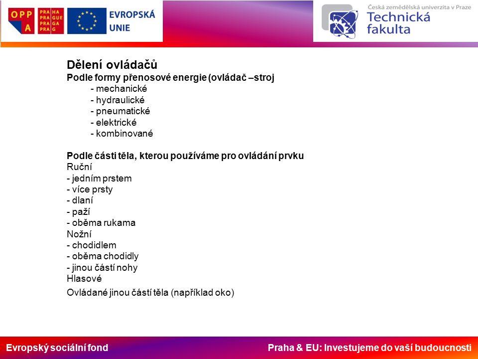 Evropský sociální fond Praha & EU: Investujeme do vaší budoucnosti Dělení ovládačů Podle formy přenosové energie (ovládač –stroj - mechanické - hydraulické - pneumatické - elektrické - kombinované Podle části těla, kterou používáme pro ovládání prvku Ruční - jedním prstem - více prsty - dlaní - paží - oběma rukama Nožní - chodidlem - oběma chodidly - jinou částí nohy Hlasové Ovládané jinou částí těla (například oko)
