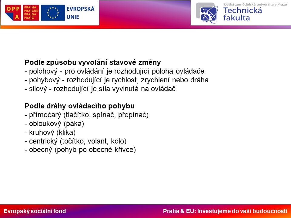 Evropský sociální fond Praha & EU: Investujeme do vaší budoucnosti Podle způsobu vyvolání stavové změny - polohový - pro ovládání je rozhodující poloha ovládače - pohybový - rozhodující je rychlost, zrychlení nebo dráha - silový - rozhodující je síla vyvinutá na ovládač Podle dráhy ovládacího pohybu - přímočarý (tlačítko, spínač, přepínač) - obloukový (páka) - kruhový (klika) - centrický (točítko, volant, kolo) - obecný (pohyb po obecné křivce)