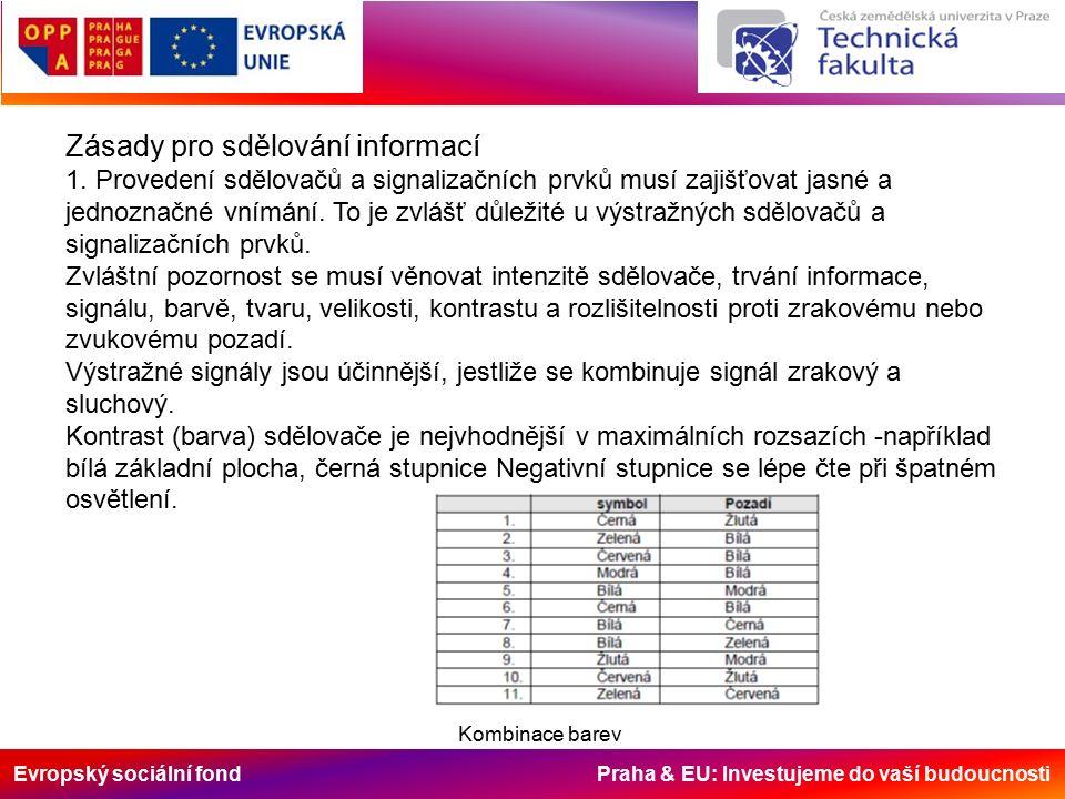 Evropský sociální fond Praha & EU: Investujeme do vaší budoucnosti Zásady pro sdělování informací 1.