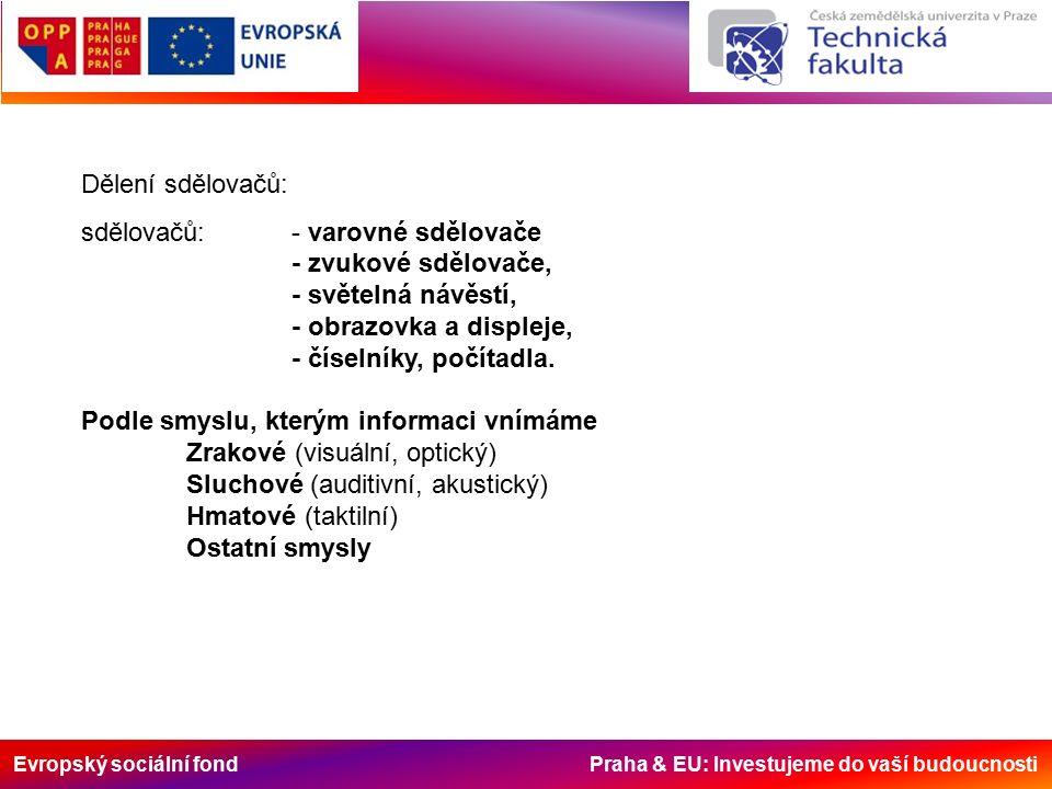 Evropský sociální fond Praha & EU: Investujeme do vaší budoucnosti Dělení sdělovačů: sdělovačů: - varovné sdělovače - zvukové sdělovače, - světelná návěstí, - obrazovka a displeje, - číselníky, počítadla.