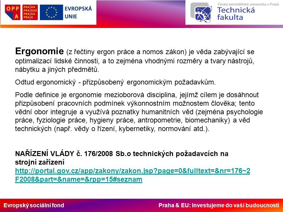 Evropský sociální fond Praha & EU: Investujeme do vaší budoucnosti Ergonomie (z řečtiny ergon práce a nomos zákon) je věda zabývající se optimalizací lidské činnosti, a to zejména vhodnými rozměry a tvary nástrojů, nábytku a jiných předmětů.