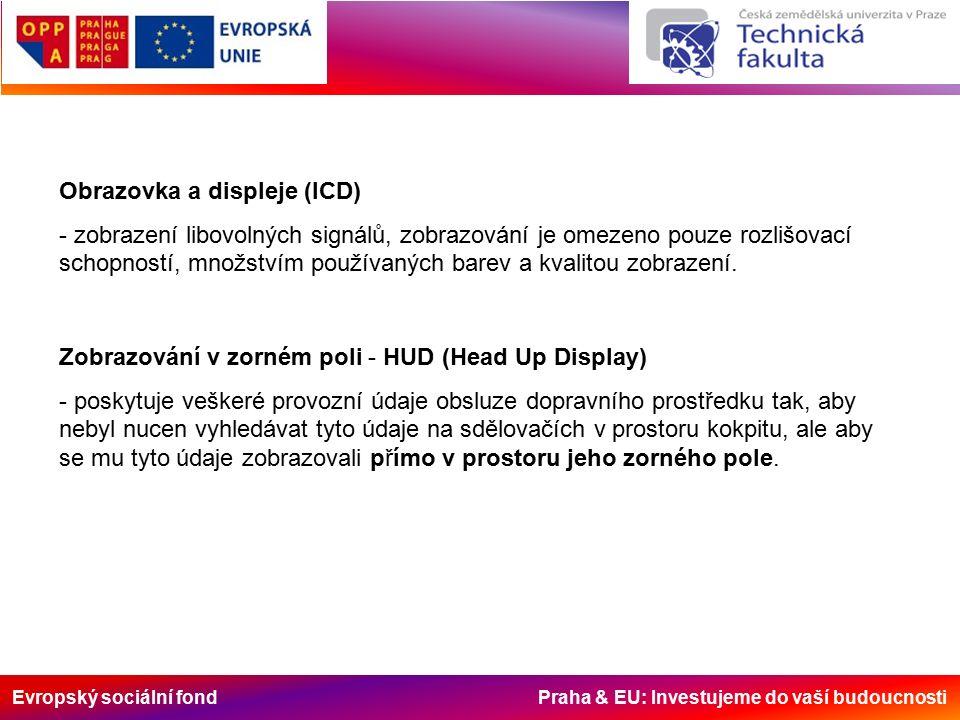 Evropský sociální fond Praha & EU: Investujeme do vaší budoucnosti Obrazovka a displeje (lCD) - zobrazení libovolných signálů, zobrazování je omezeno pouze rozlišovací schopností, množstvím používaných barev a kvalitou zobrazení.