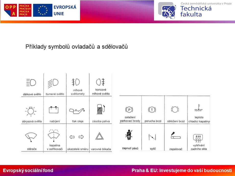 Evropský sociální fond Praha & EU: Investujeme do vaší budoucnosti Příklady symbolů ovladačů a sdělovačů