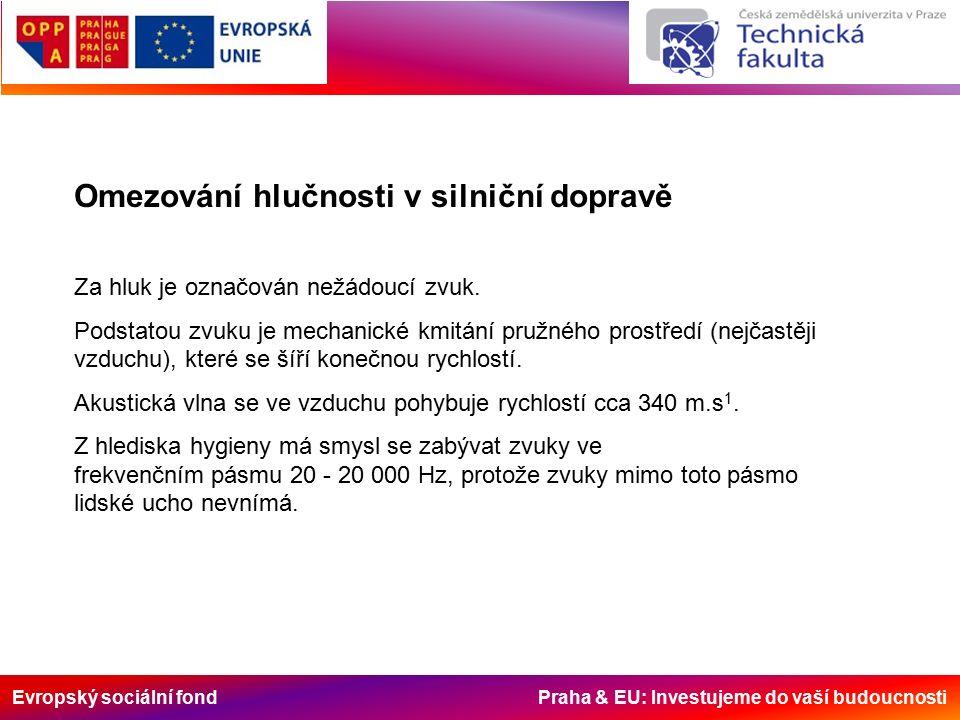 Evropský sociální fond Praha & EU: Investujeme do vaší budoucnosti Omezování hlučnosti v silniční dopravě Za hluk je označován nežádoucí zvuk.