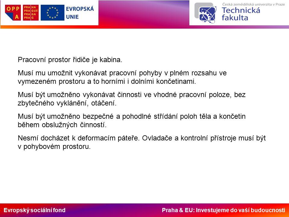 Evropský sociální fond Praha & EU: Investujeme do vaší budoucnosti Pracovní prostor řidiče je kabina.