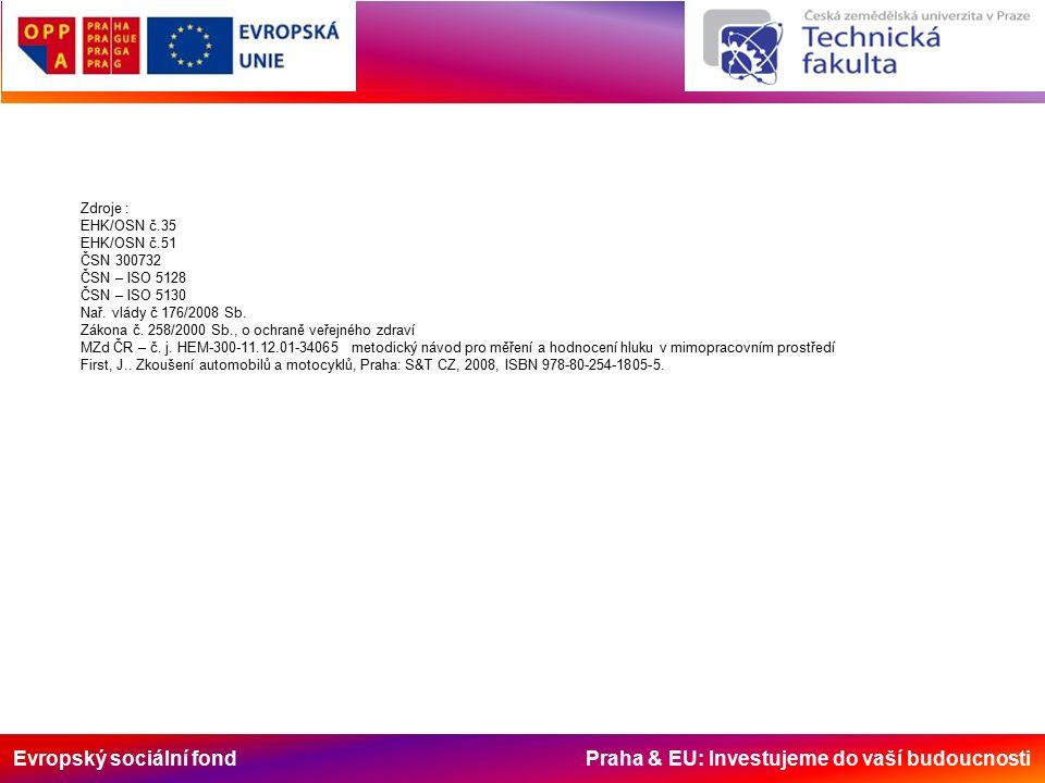 Evropský sociální fond Praha & EU: Investujeme do vaší budoucnosti Zdroje : EHK/OSN č.35 EHK/OSN č.51 ČSN 300732 ČSN – ISO 5128 ČSN – ISO 5130 Nař.