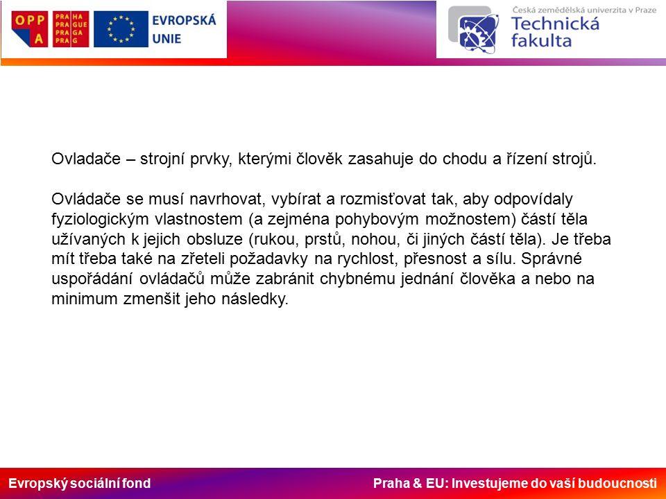Evropský sociální fond Praha & EU: Investujeme do vaší budoucnosti Ovladače – strojní prvky, kterými člověk zasahuje do chodu a řízení strojů.