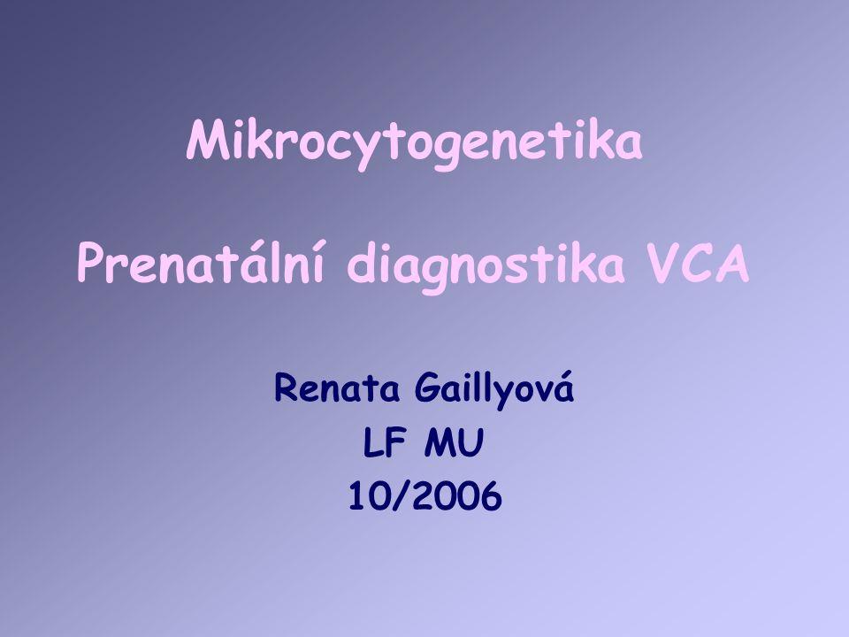 Mikrocytogenetika Prenatální diagnostika VCA Renata Gaillyová LF MU 10/2006