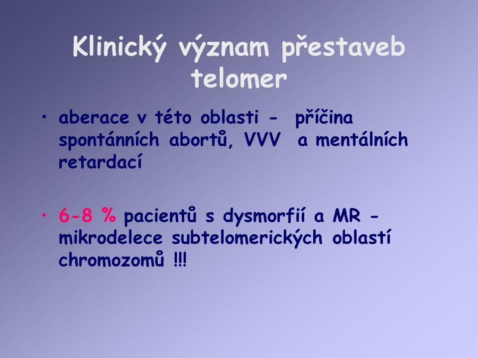 Klinický význam přestaveb telomer aberace v této oblasti - příčina spontánních abortů, VVV a mentálních retardací 6-8 % pacientů s dysmorfií a MR - mikrodelece subtelomerických oblastí chromozomů !!!