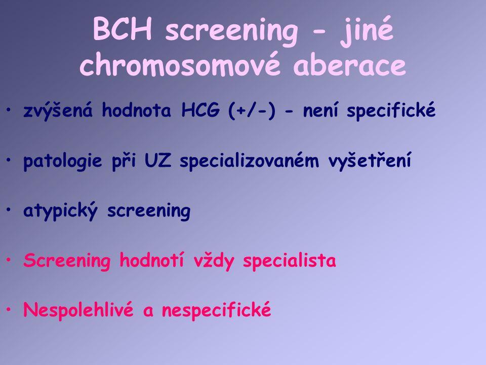 BCH screening - jiné chromosomové aberace zvýšená hodnota HCG (+/-) - není specifické patologie při UZ specializovaném vyšetření atypický screening Screening hodnotí vždy specialista Nespolehlivé a nespecifické