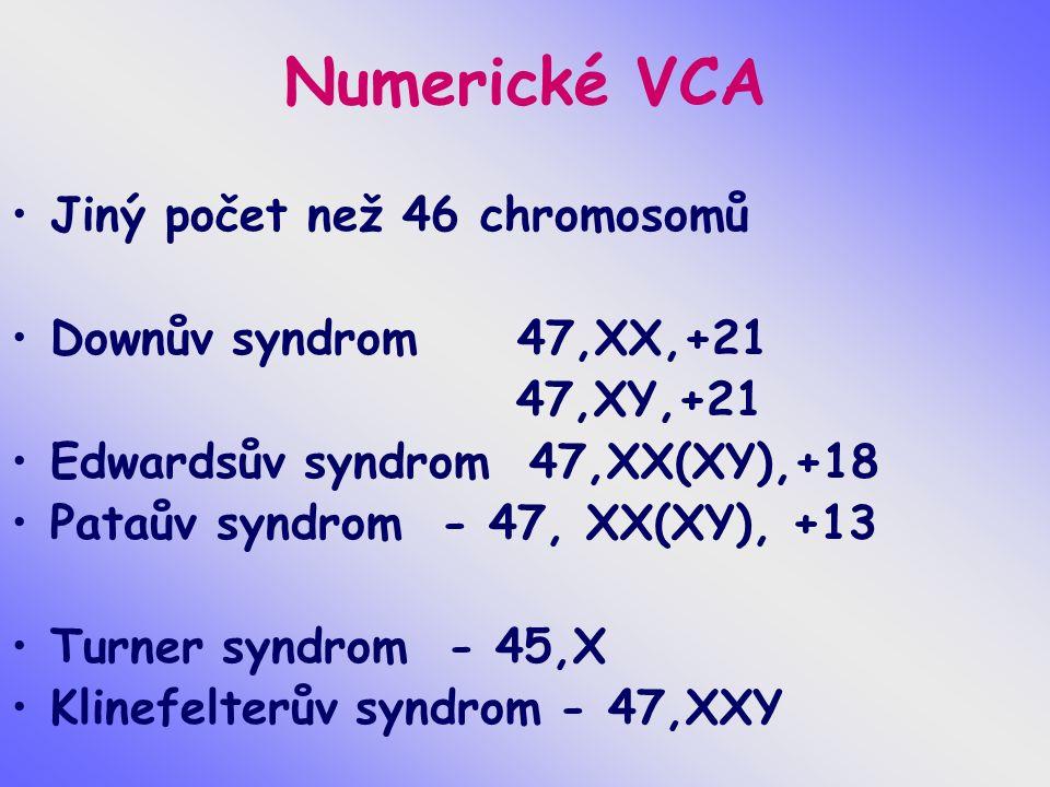 Numerické VCA Jiný počet než 46 chromosomů Downův syndrom 47,XX,+21 47,XY,+21 Edwardsův syndrom 47,XX(XY),+18 Pataův syndrom - 47, XX(XY), +13 Turner