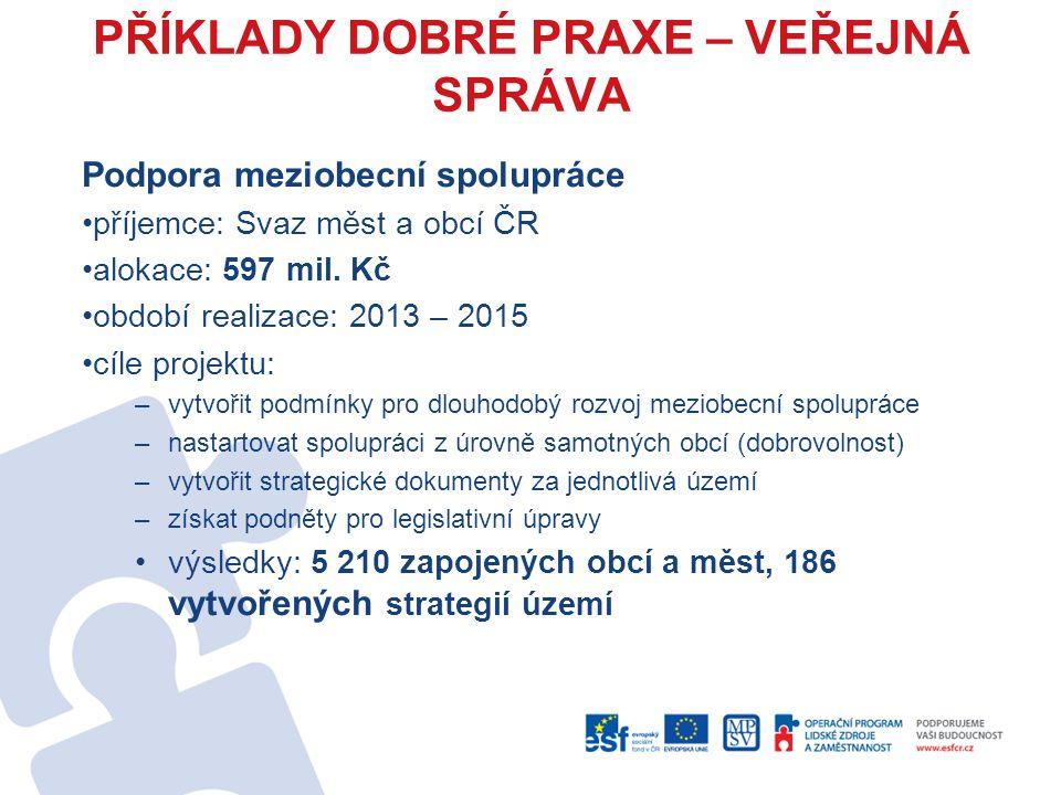 PŘÍKLADY DOBRÉ PRAXE – VEŘEJNÁ SPRÁVA Podpora meziobecní spolupráce příjemce: Svaz měst a obcí ČR alokace: 597 mil.