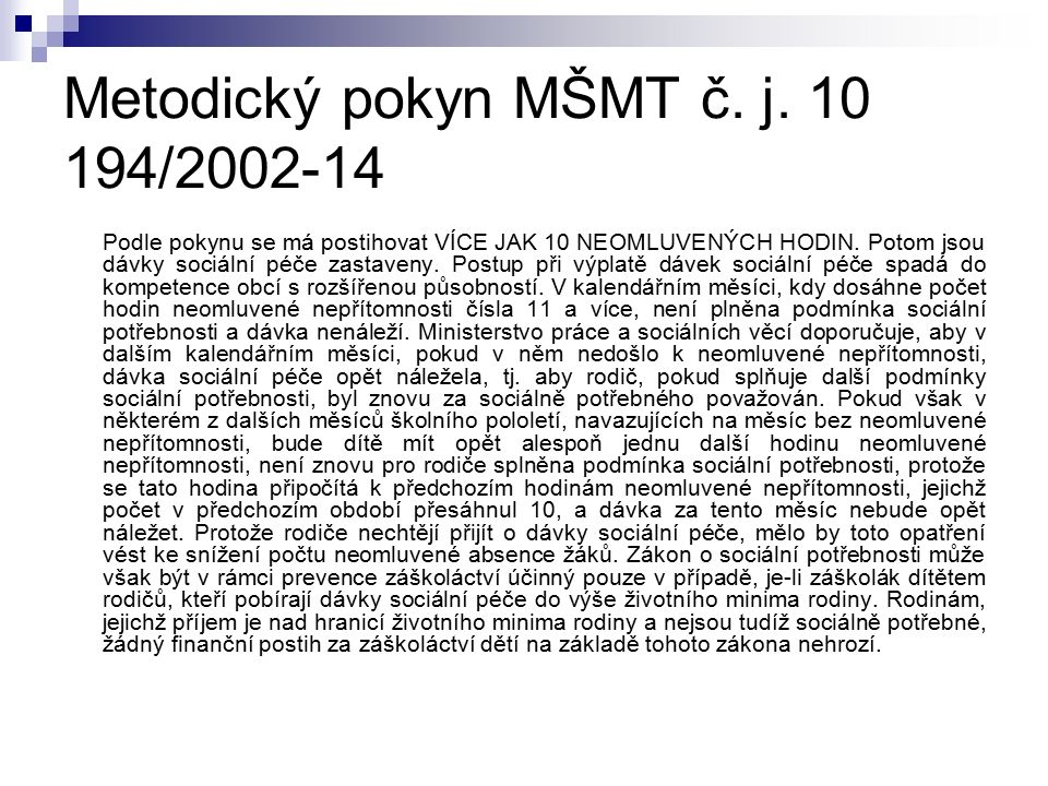 Metodický pokyn MŠMT č. j.