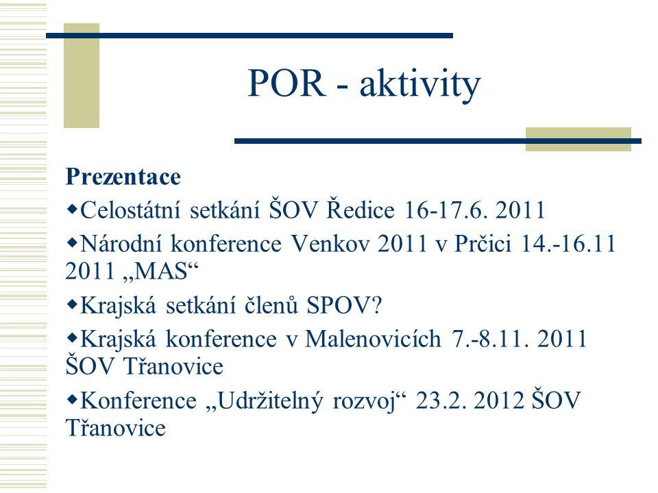 """POR - aktivity Prezentace  Celostátní setkání ŠOV Ředice 16-17.6. 2011  Národní konference Venkov 2011 v Prčici 14.-16.11 2011 """"MAS""""  Krajská setká"""