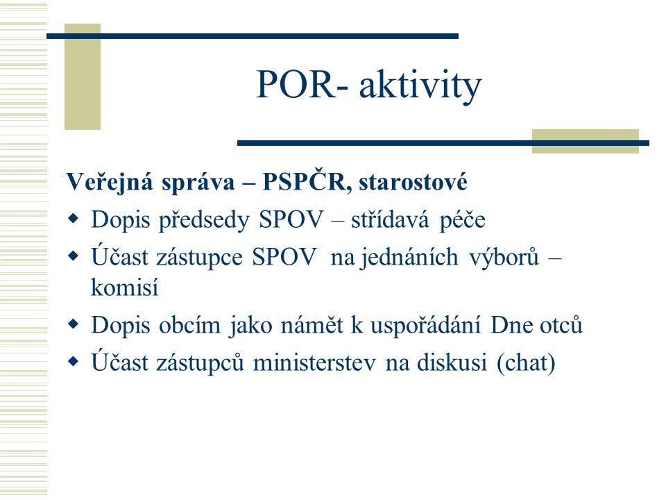 POR- aktivity Veřejná správa – PSPČR, starostové  Dopis předsedy SPOV – střídavá péče  Účast zástupce SPOV na jednáních výborů – komisí  Dopis obcí