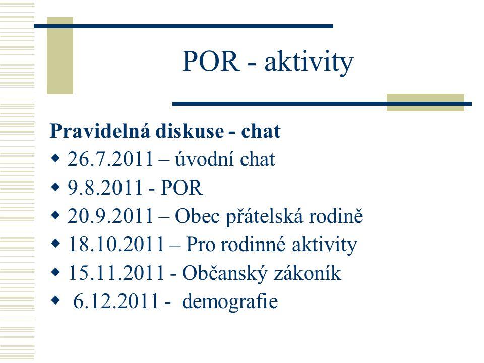 POR - aktivity Pravidelná diskuse - chat  26.7.2011 – úvodní chat  9.8.2011 - POR  20.9.2011 – Obec přátelská rodině  18.10.2011 – Pro rodinné akt