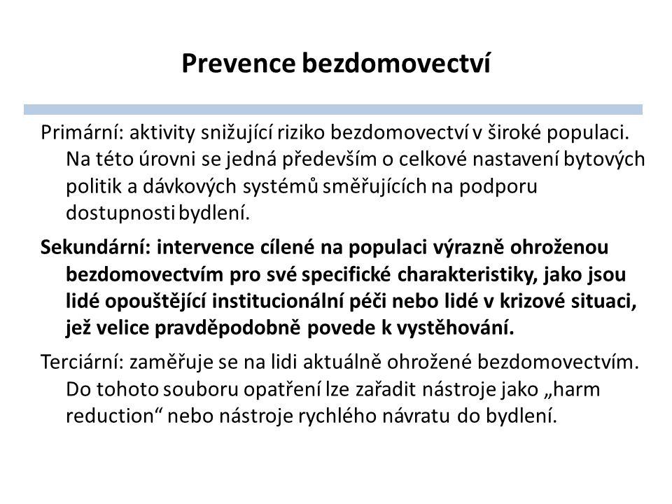 Prevence bezdomovectví Primární: aktivity snižující riziko bezdomovectví v široké populaci.