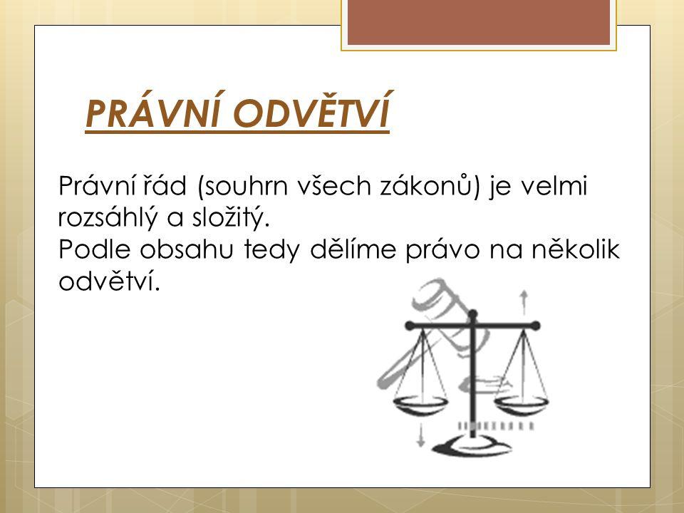 PRÁVNÍ ODVĚTVÍ Právní řád (souhrn všech zákonů) je velmi rozsáhlý a složitý.