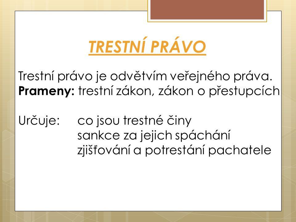 TRESTNÍ PRÁVO Trestní právo je odvětvím veřejného práva.
