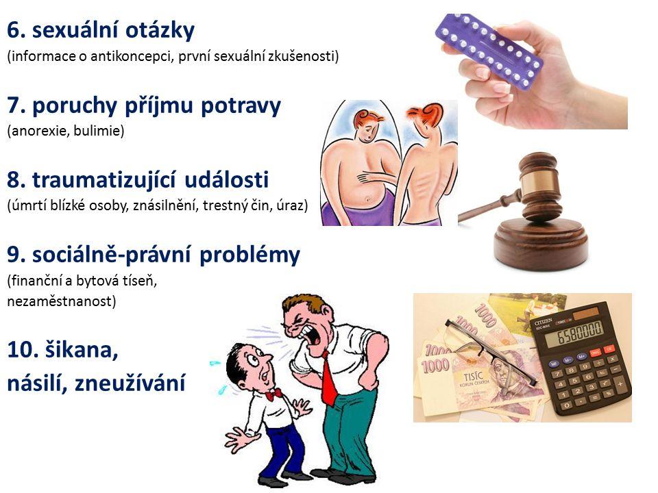 6. sexuální otázky (informace o antikoncepci, první sexuální zkušenosti) 7.