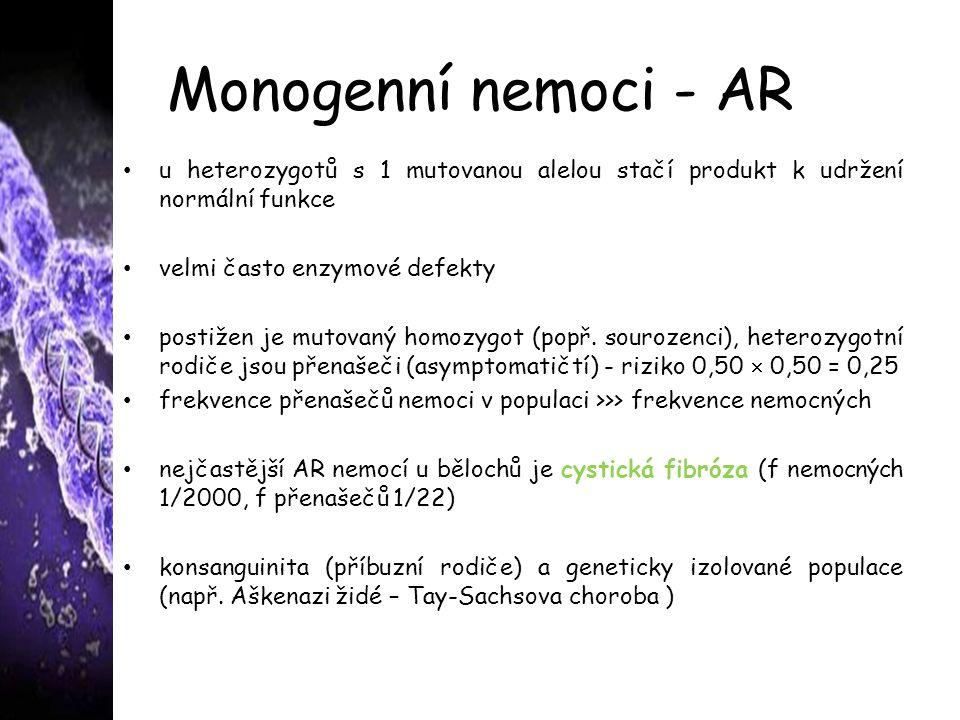 Monogenní nemoci - AR u heterozygotů s 1 mutovanou alelou stačí produkt k udržení normální funkce velmi často enzymové defekty postižen je mutovaný homozygot (popř.