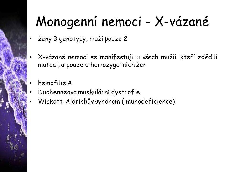 Monogenní nemoci - X-vázané ženy 3 genotypy, muži pouze 2 X-vázané nemoci se manifestují u všech mužů, kteří zdědili mutaci, a pouze u homozygotních žen hemofilie A Duchenneova muskulární dystrofie Wiskott-Aldrichův syndrom (imunodeficience)