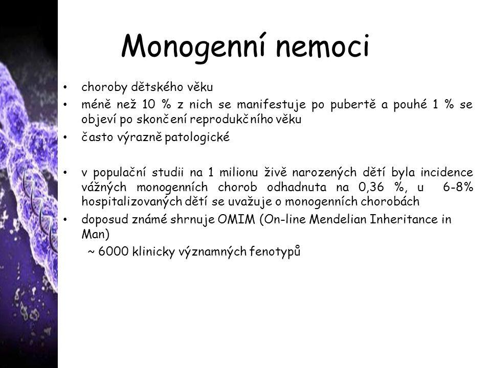 Monogenní nemoci choroby dětského věku méně než 10 % z nich se manifestuje po pubertě a pouhé 1 % se objeví po skončení reprodukčního věku často výrazně patologické v populační studii na 1 milionu živě narozených dětí byla incidence vážných monogenních chorob odhadnuta na 0,36 %, u 6-8% hospitalizovaných dětí se uvažuje o monogenních chorobách doposud známé shrnuje OMIM (On-line Mendelian Inheritance in Man) ~ 6000 klinicky významných fenotypů