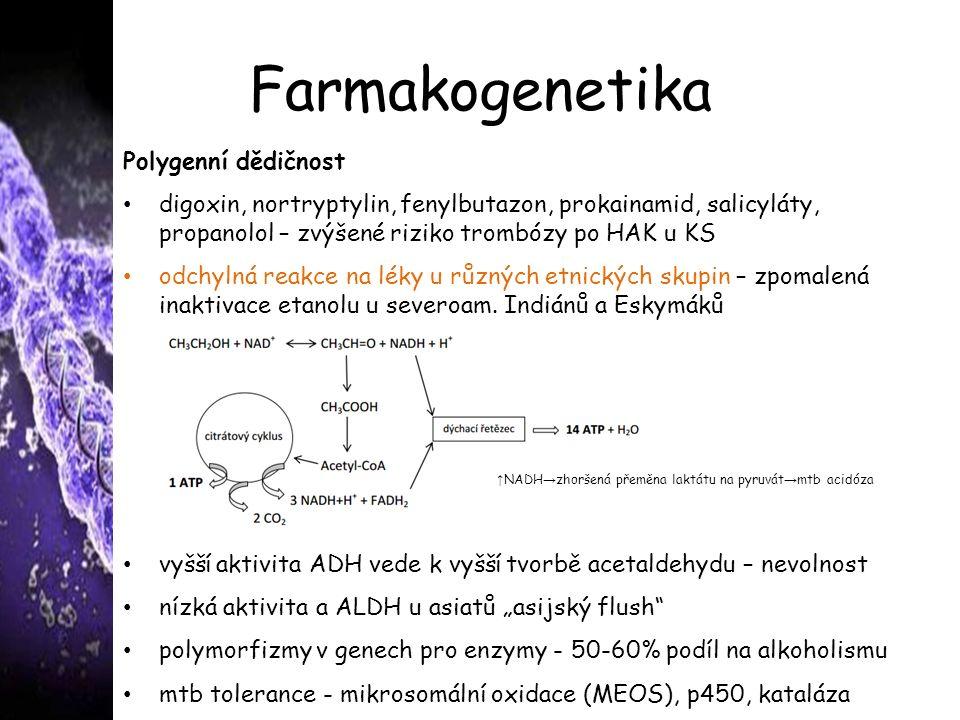 Farmakogenetika Polygenní dědičnost digoxin, nortryptylin, fenylbutazon, prokainamid, salicyláty, propanolol – zvýšené riziko trombózy po HAK u KS odchylná reakce na léky u různých etnických skupin – zpomalená inaktivace etanolu u severoam.