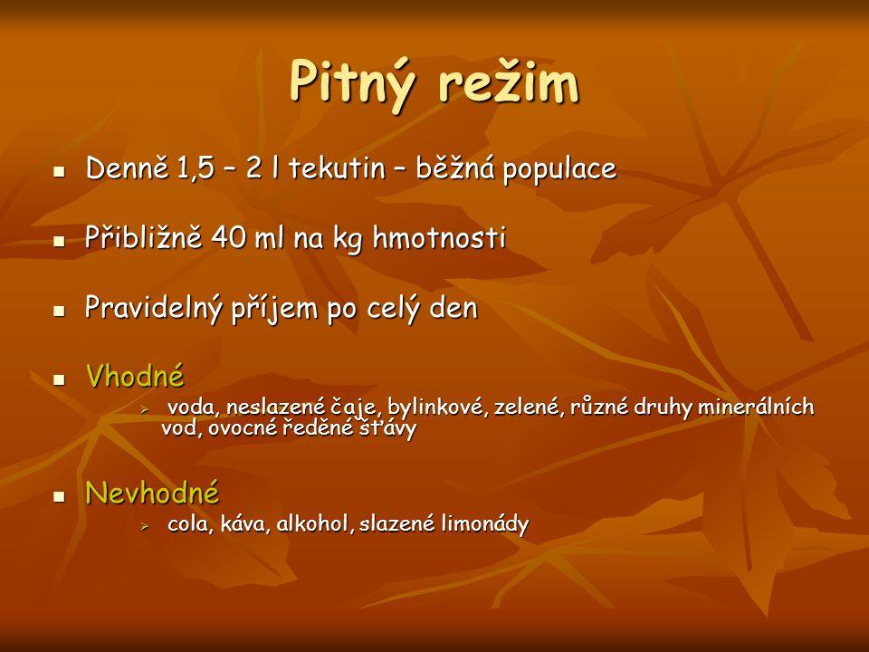 Pitný režim Denně 1,5 – 2 l tekutin – běžná populace Denně 1,5 – 2 l tekutin – běžná populace Přibližně 40 ml na kg hmotnosti Přibližně 40 ml na kg hm
