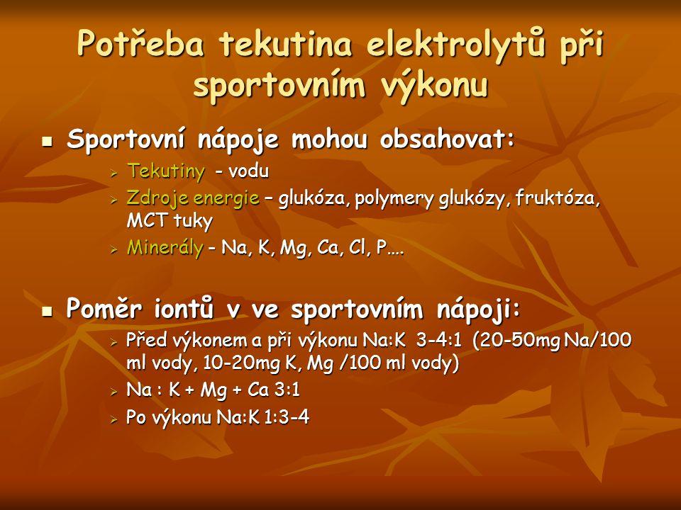 Potřeba tekutina elektrolytů při sportovním výkonu Sportovní nápoje mohou obsahovat: Sportovní nápoje mohou obsahovat:  Tekutiny - vodu  Zdroje energie – glukóza, polymery glukózy, fruktóza, MCT tuky  Minerály - Na, K, Mg, Ca, Cl, P….
