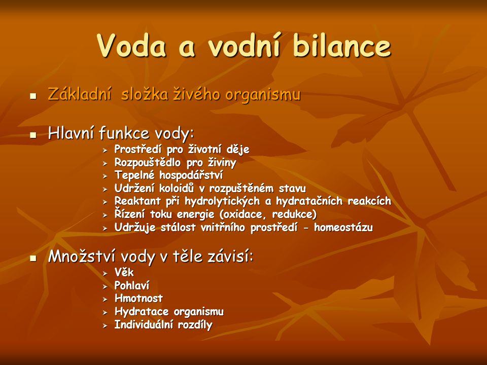 Voda a vodní bilance Základní složka živého organismu Základní složka živého organismu Hlavní funkce vody: Hlavní funkce vody:  Prostředí pro životní