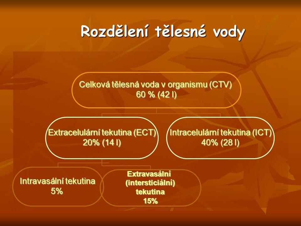 Rozdělení tělesné vody Celková tělesná voda v organismu (CTV) 60 % (42 l) Extracelulární tekutina (ECT) 20% (14 l) Intravasální tekutina 5%Extravasální(intersticiální)tekutina15% Intracelulární tekutina (ICT) 40% (28 l)