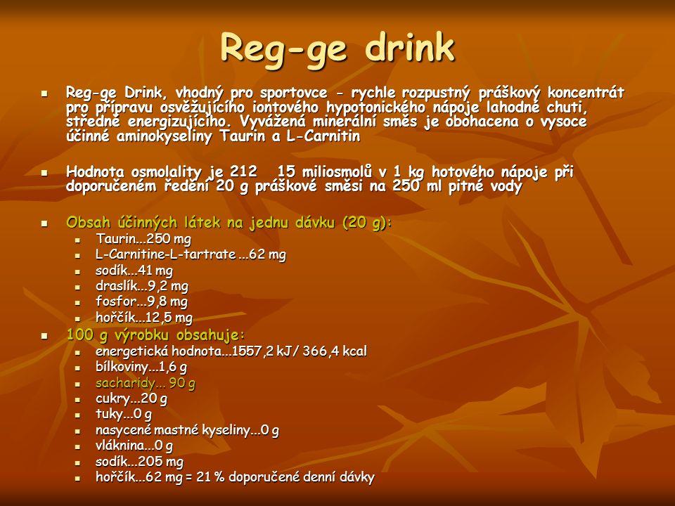 Reg-ge drink Reg-ge Drink, vhodný pro sportovce - rychle rozpustný práškový koncentrát pro přípravu osvěžujícího iontového hypotonického nápoje lahodné chuti, středně energizujícího.