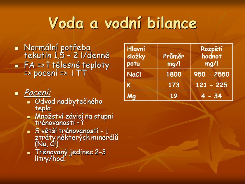 Voda a vodní bilance Normální potřeba tekutin 1,5 – 2 l/denně Normální potřeba tekutin 1,5 – 2 l/denně FA => î tělesné teploty => pocení => ↓ TT FA =>