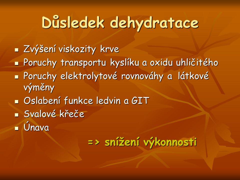 Důsledek dehydratace Zvýšení viskozity krve Zvýšení viskozity krve Poruchy transportu kyslíku a oxidu uhličitého Poruchy transportu kyslíku a oxidu uh