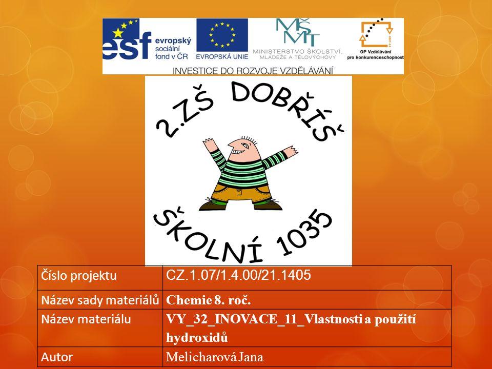 Číslo projektu CZ.1.07/1.4.00/21.1405 Název sady materiálů Chemie 8.