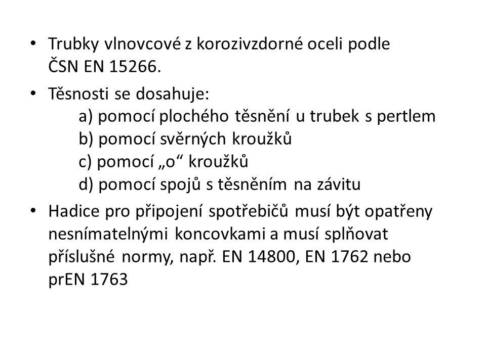 Trubky vlnovcové z korozivzdorné oceli podle ČSN EN 15266.