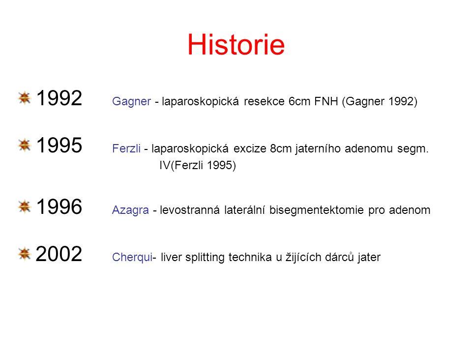 Historie 1992 Gagner - laparoskopická resekce 6cm FNH (Gagner 1992) 1995 Ferzli - laparoskopická excize 8cm jaterního adenomu segm.