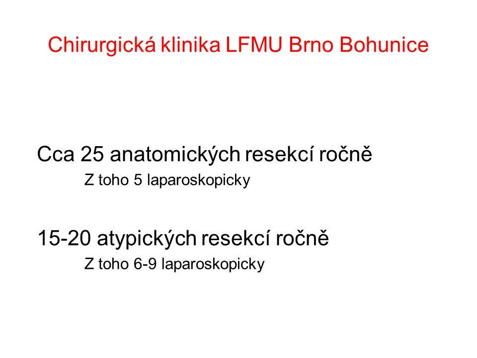 Chirurgická klinika LFMU Brno Bohunice Cca 25 anatomických resekcí ročně Z toho 5 laparoskopicky 15-20 atypických resekcí ročně Z toho 6-9 laparoskopicky