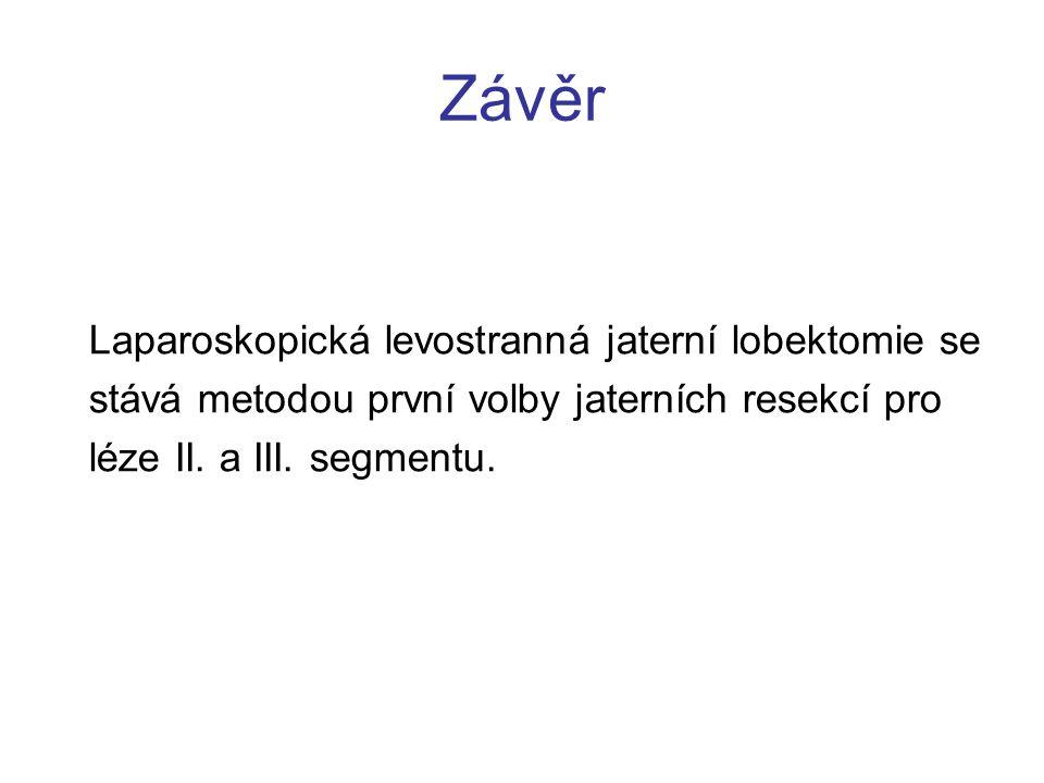 Závěr Laparoskopická levostranná jaterní lobektomie se stává metodou první volby jaterních resekcí pro léze II.