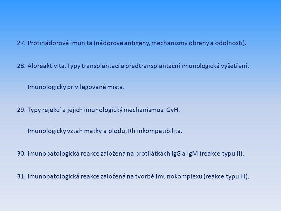 27. Protinádorová imunita (nádorové antigeny, mechanismy obrany a odolnosti).
