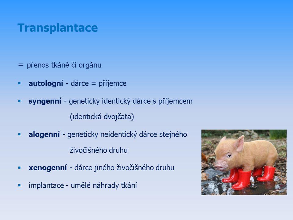 = přenos tkáně či orgánu  autologní - dárce = příjemce  syngenní - geneticky identický dárce s příjemcem (identická dvojčata)  alogenní - geneticky neidentický dárce stejného živočišného druhu  xenogenní - dárce jiného živočišného druhu  implantace - umělé náhrady tkání