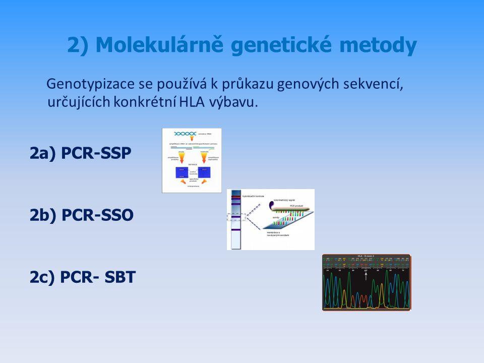 2) Molekulárně genetické metody Genotypizace se používá k průkazu genových sekvencí, určujících konkrétní HLA výbavu.