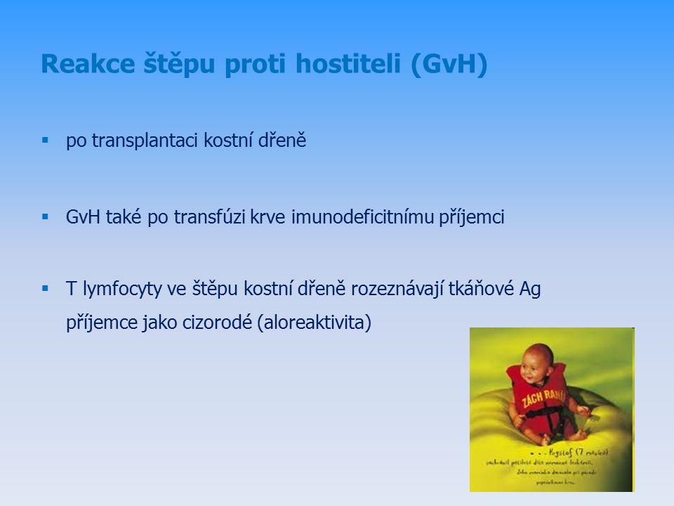 Reakce štěpu proti hostiteli (GvH)  po transplantaci kostní dřeně  GvH také po transfúzi krve imunodeficitnímu příjemci  T lymfocyty ve štěpu kostní dřeně rozeznávají tkáňové Ag příjemce jako cizorodé (aloreaktivita)
