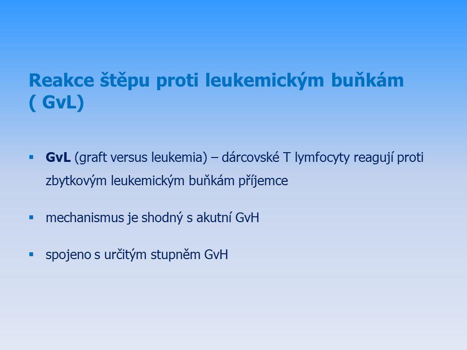 Reakce štěpu proti leukemickým buňkám ( GvL)  GvL (graft versus leukemia) – dárcovské T lymfocyty reagují proti zbytkovým leukemickým buňkám příjemce  mechanismus je shodný s akutní GvH  spojeno s určitým stupněm GvH