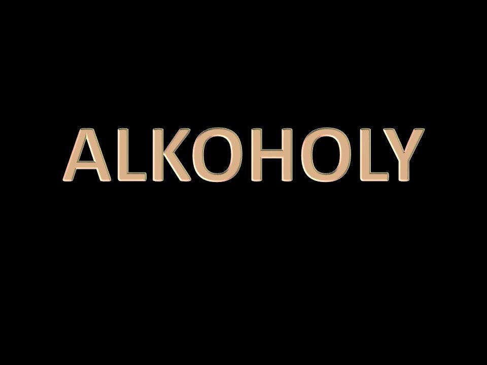 ALKOHOLY - KYSLÍKATÉ DERIVÁTY UHLOVODÍKŮ Obsahují charakteristickou hydroxylovou skupinu – OH hydroxyderiváty Obecný vzorec R-OH R- radikál (uhlovodíkový zbytek) Uhlík může mít pouze jednu hydroxylovou skupinu – OH Podle počtu OH skupin se alkoholy dělí na : – a) jednosytné – b) dvojsytné – c) trojsytné VLASTNOSTI: kapaliny, vonící, jedovaté, paliva