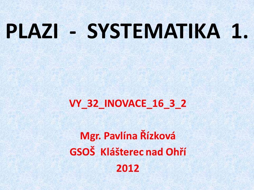 PLAZI - SYSTEMATIKA 1. VY_32_INOVACE_16_3_2 Mgr. Pavlína Řízková GSOŠ Klášterec nad Ohří 2012