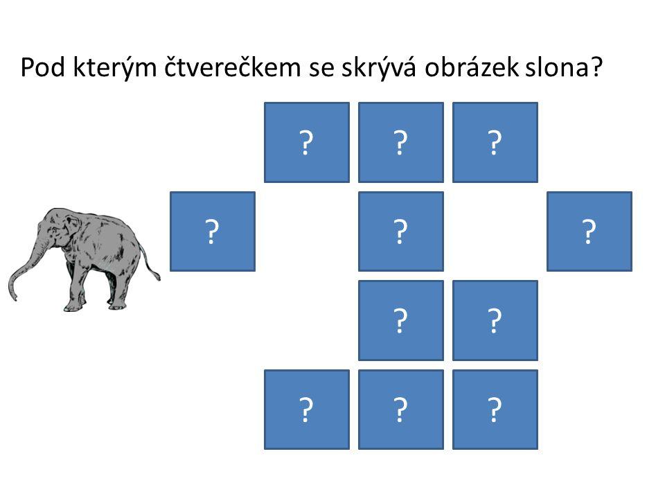Pod kterým čtverečkem se skrývá obrázek slona? ??? ??? ?? ???