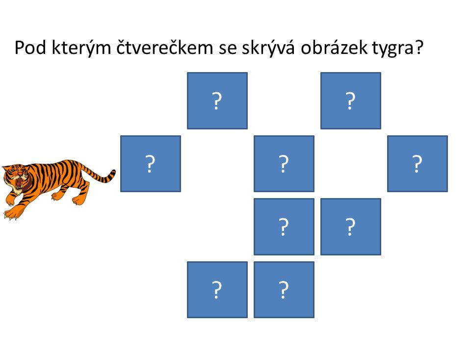 Pod kterým čtverečkem se skrývá obrázek tygra? ?? ??? ?? ??